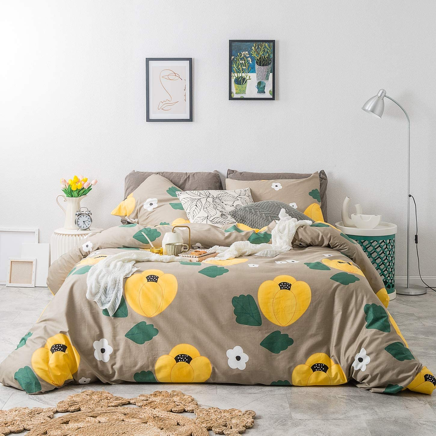 SUSYBAO 3 Piece Duvet Cover Set 100% Cotton Queen Size Yellow Floral Flower Pattern Bedding Set 1 Green Botanical Duvet Cover with Zipper Ties 2 Pillowcases Luxury Quality Soft Lightweight Durable