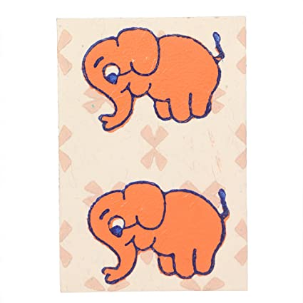 Literacy India Indha Elephant Block Print Wedding And Party Celebration Greeting Card Set Of 5