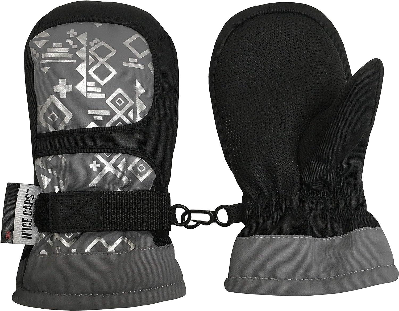NIce Caps Kids Thinsulate Waterproof Geometric Print Winter Snow Mittens