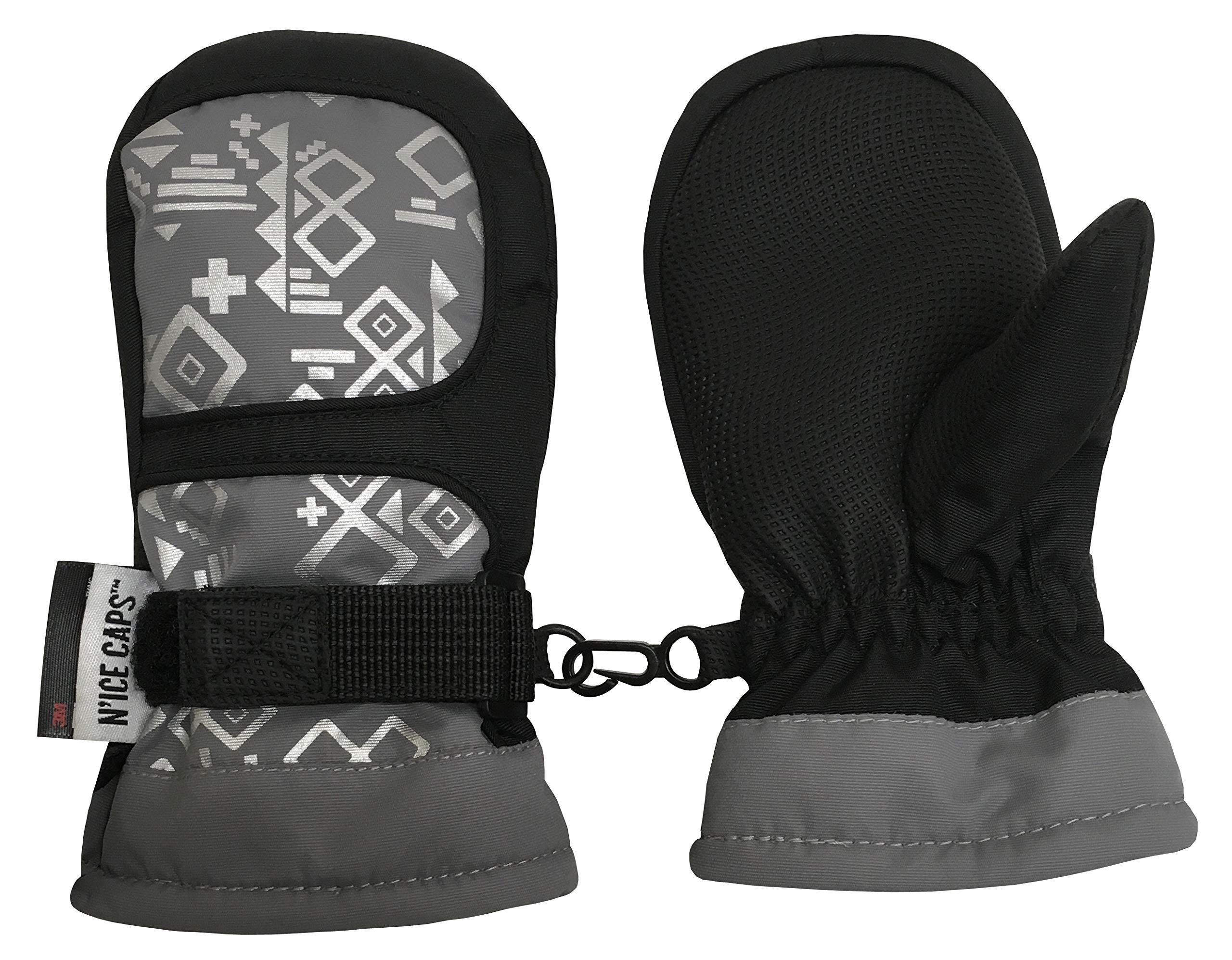N'Ice Caps Kids Thinsulate Waterproof Geometric Print Winter Snow Mittens (Black/Grey/Silver, 4-5yrs)