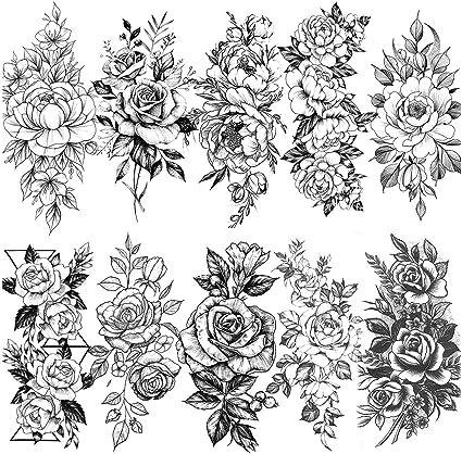 LAROI 10 Hojas Gran Realista Rosa Peonía Flor Tatuajes Temporales ...