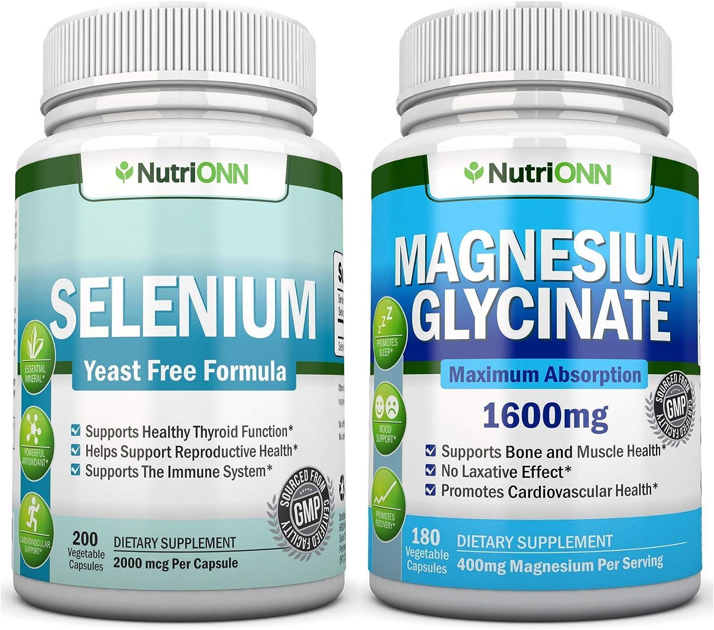 NutriONN Selenium & NutriONN Magnesium Glycinate Vegan Capsules Combo - Targeted Support for Thyroid Health