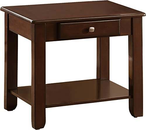 Homelegance Carrier End Table with Lower Shelf Drawer, Cherry