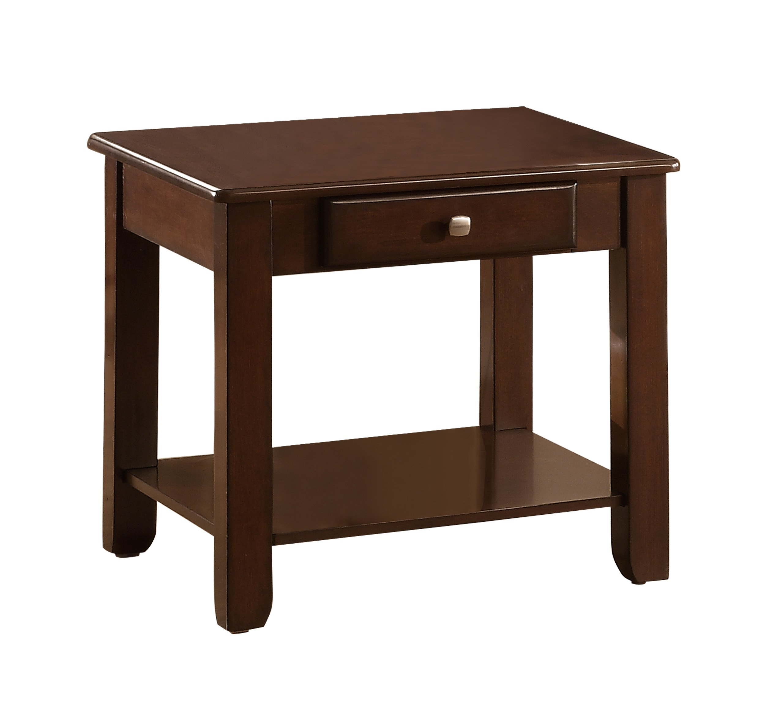 Homelegance Carrier End Table with Lower Shelf & Drawer, Cherry