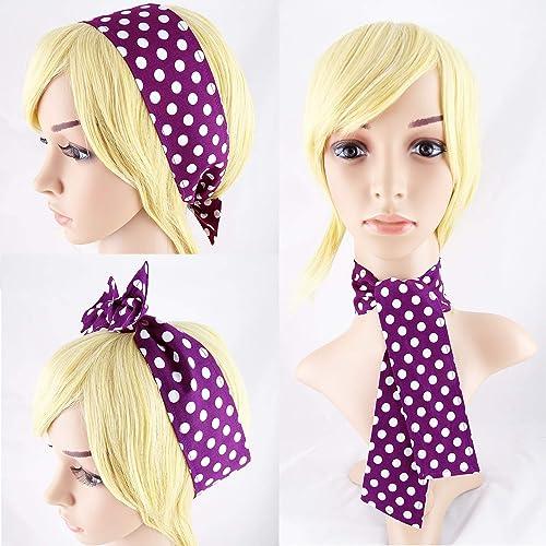 e80d00e36a3409 Haarband Halstuch Polka Dots Rockabilly lila: Amazon.de: Handmade