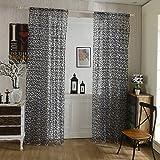 Hoomall Vorhang Transparent Gardinen Wohnzimmer Voile Dekoschal BH 100cm200cm Grau