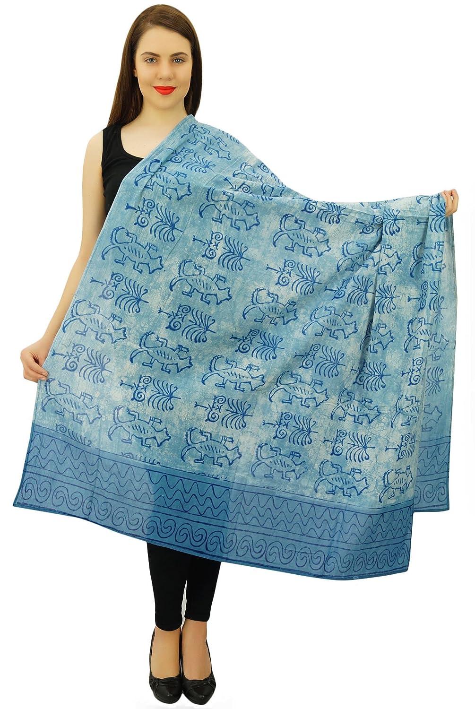 "Women Fashion Hand Block Printed Cotton Summer Wrap Scarf 74"" x 43"" Inches"
