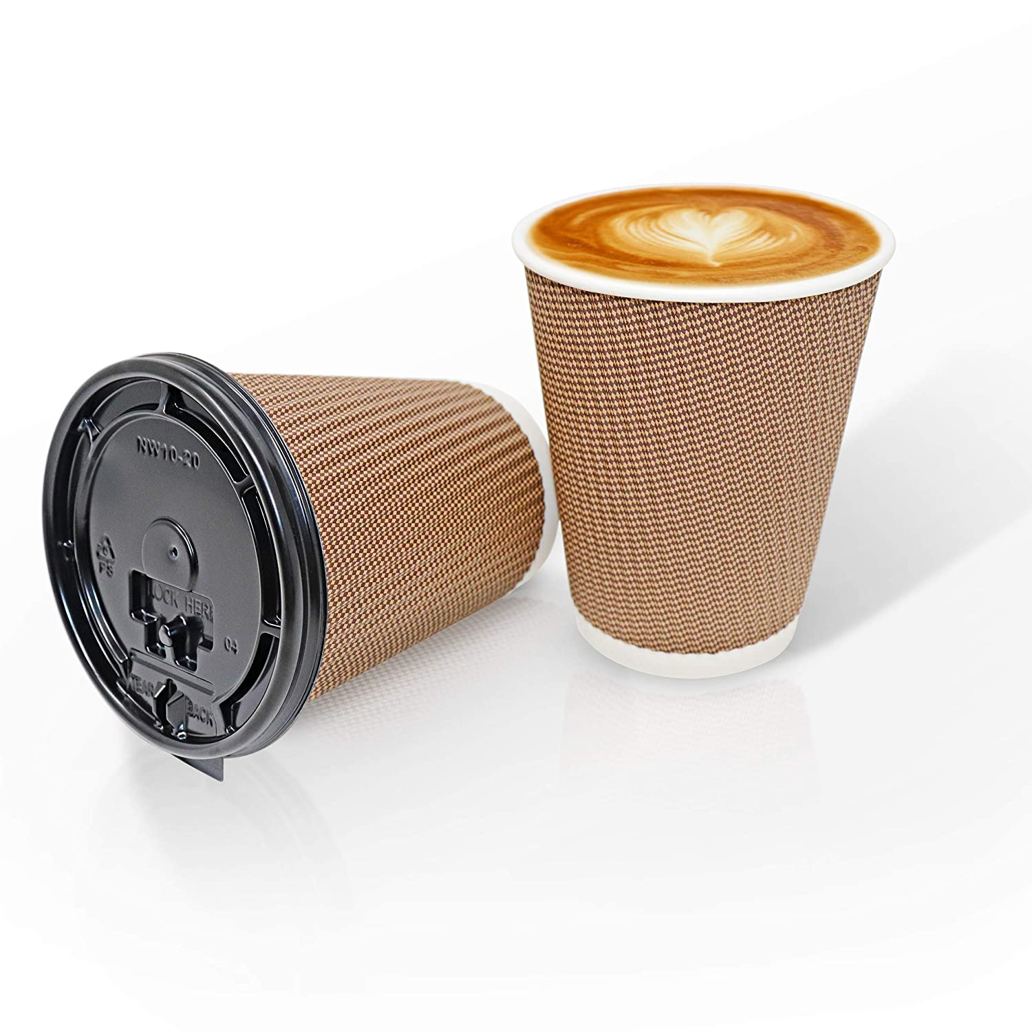 2c485280625 12 Oz Disposable Coffee Cups :: Set of 30 Double Walled Paper Cups + 30  Leakproof Plastic Lids :: Thick, Durable, Eco Friendly, with Easy Grip  Ripple ...