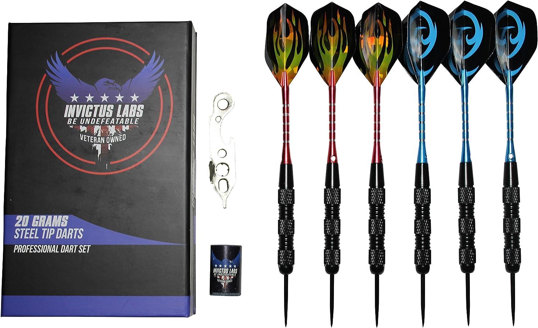 Set de juego de dardos profesional Invictus Labs - 6 dardos de 20g con punta de acero y cañas de aluminio roja y azul con 2 estilosas plumas + afilador + herramientas +