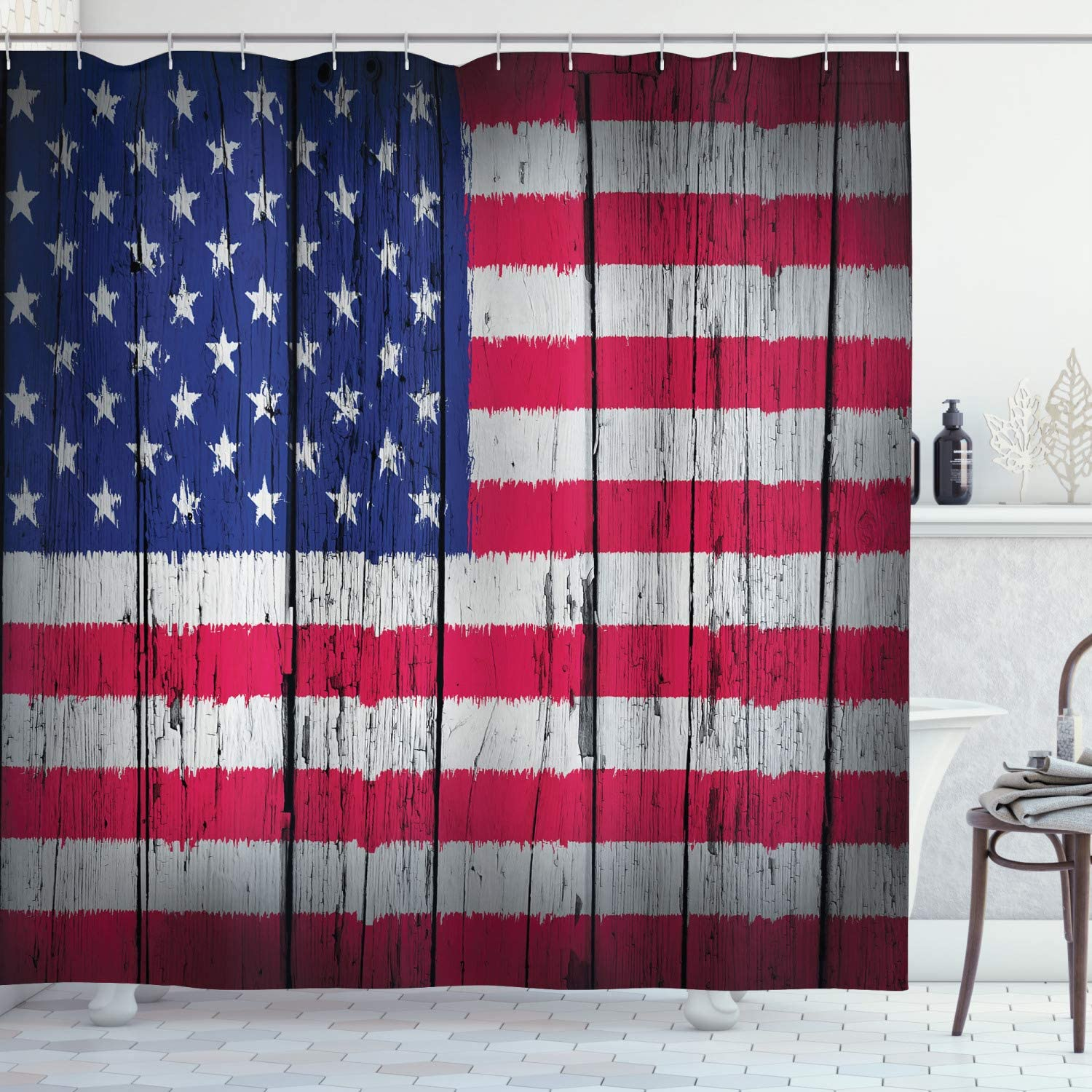 Ambesonne USA Shower Curtain, Fourth of July Independence Day Grunge Art Aged Hardwood Wall Looking Art Patriotic States Concept Print, Cloth Fabric Bathroom Decor Set with Hooks, 75