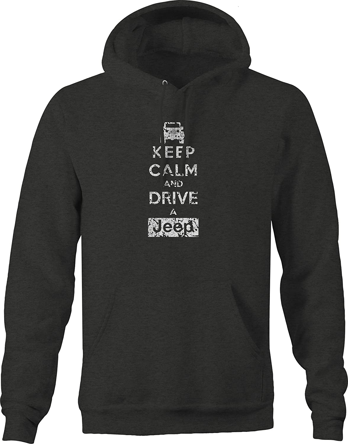 Lifestyle Graphix Distressed Keep Calm and Drive 4 x 4 OutdoorHoodies for Men