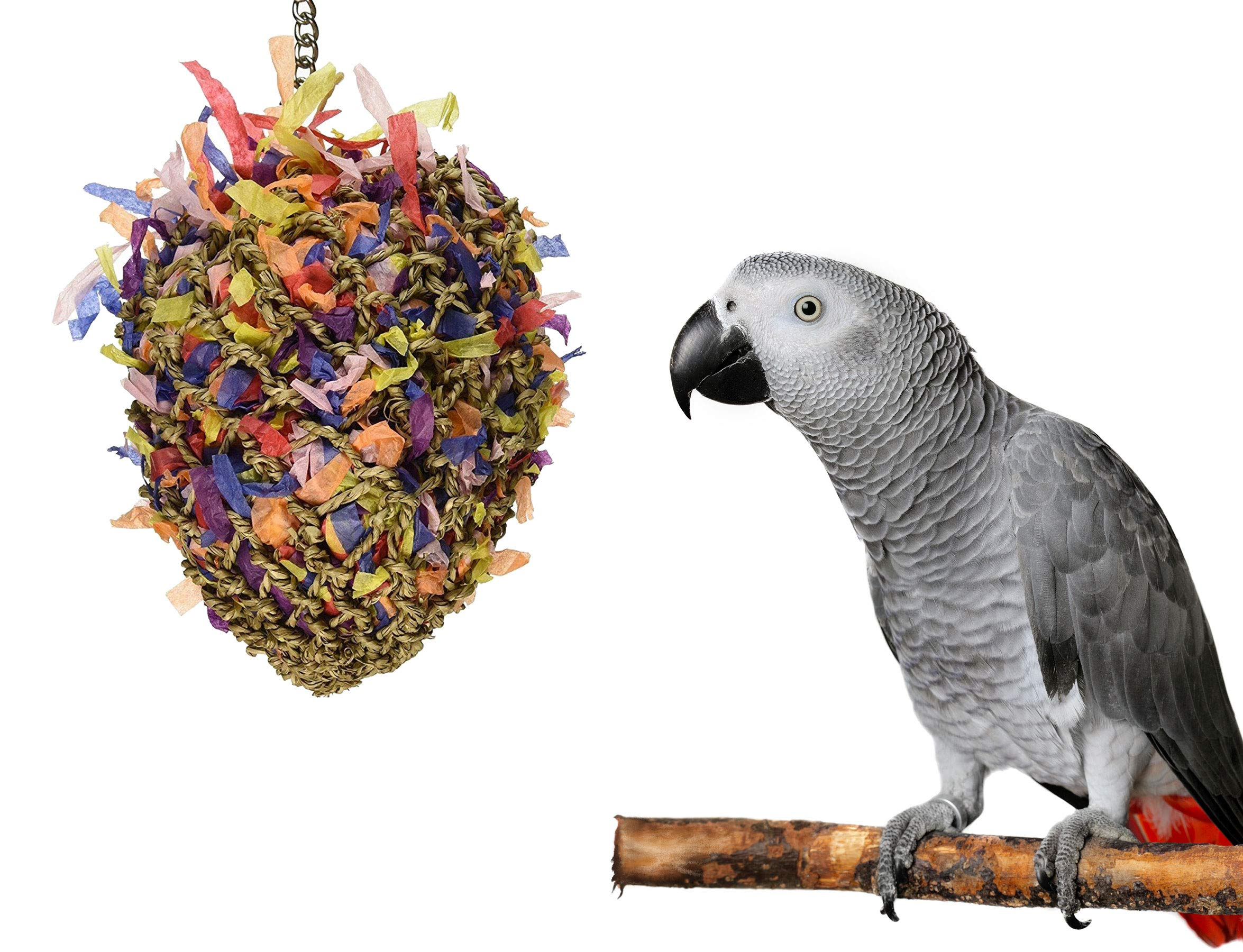 Sweet Feet and Beak Bird Toys Super Shredder Ball - Keeps Your Pet Bird Busy for Weeks Foraging for Hidden Treasures - Non-Toxic - Easy to Install - for Large Sized Birds - 7 inch Diameter by Sweet Feet and Beak