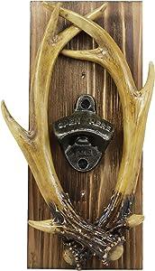 Ebros Rustic Western Faux Entwined Hunter's Stag Deer Antlers Trophy Mounted On Wood Plank Vintage Style Soda Beer Bottle Cap Cast Metal Opener 10.75