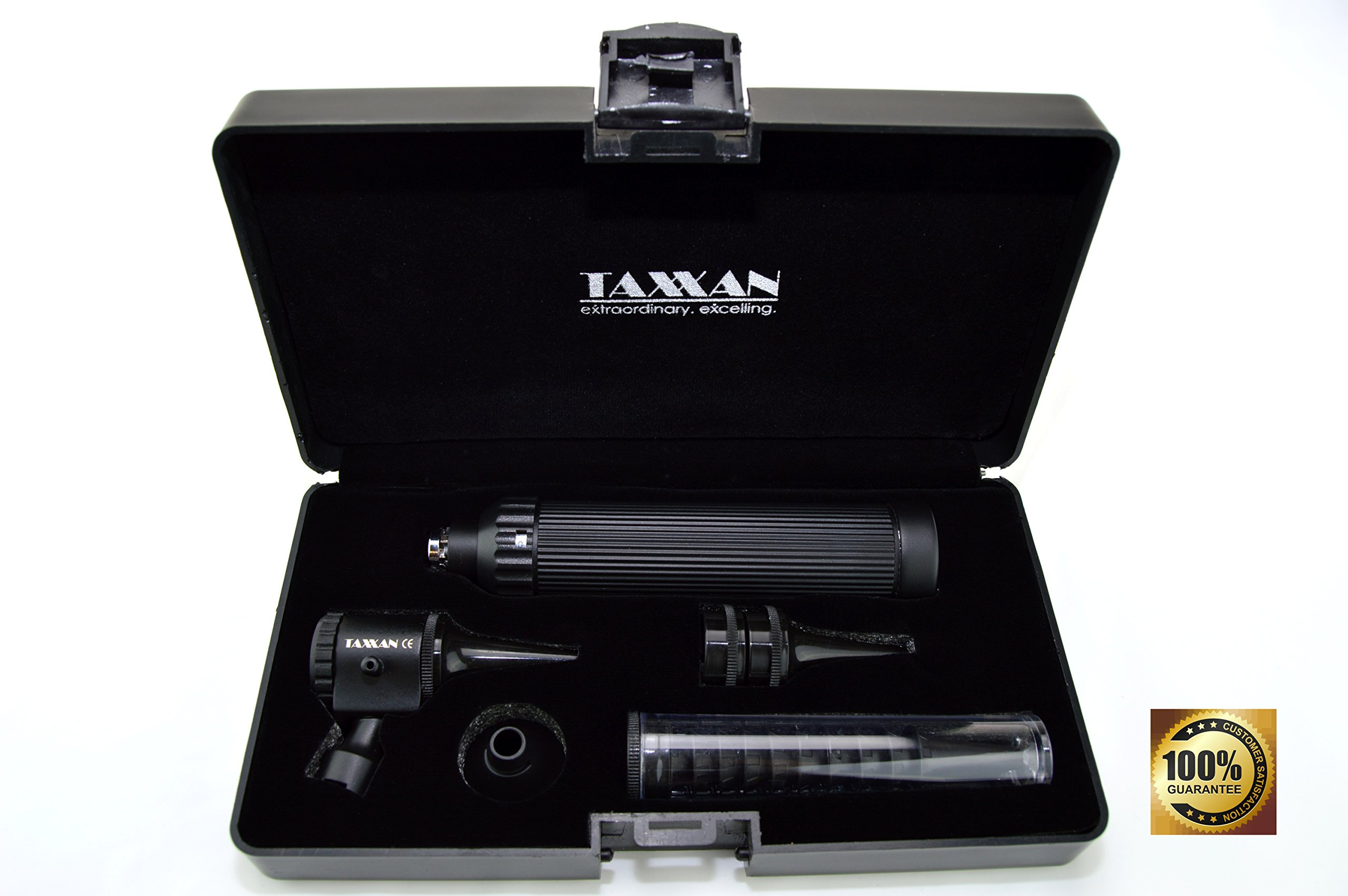 TAXXAN BLACK OTOSCOPE ENT DIAGNOSTIC SET WITH METAL ADAPTER TO USE STANDARD DISPOSABLE SPECULUM