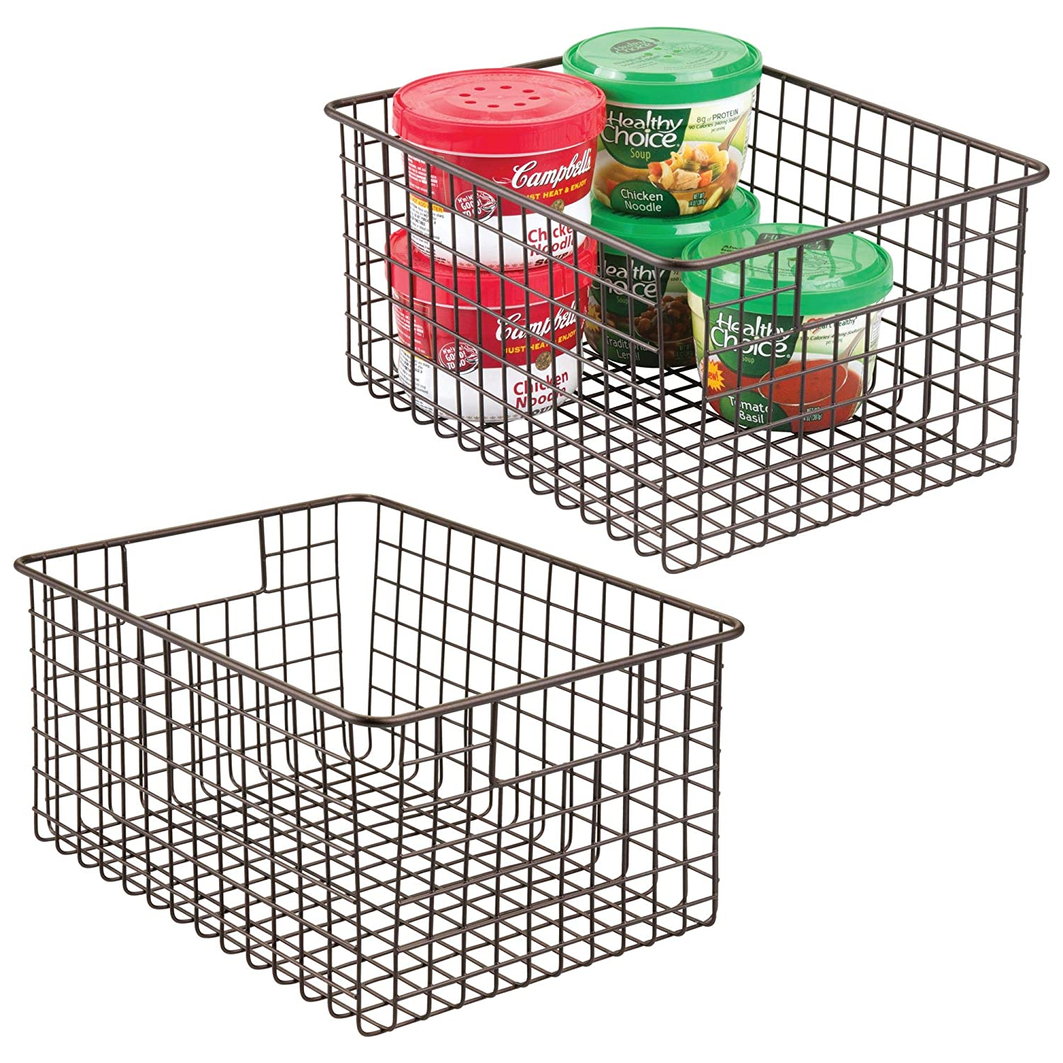 """mDesign Farmhouse Decor Metal Wire Food Storage Organizer Bin Basket with Handles - for Kitchen Cabinets, Pantry, Bathroom, Laundry Room, Closets, Garage - 12"""" x 9"""" x 6"""" - 2 Pack - Bronze"""