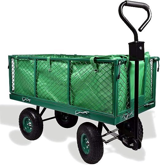 Carro de jardín Izzy Sport, 300 kg, metal, remolque para tractor, carretilla de mano, neumáticos, paredes plegables, bolsa extraíble: Amazon.es: Jardín