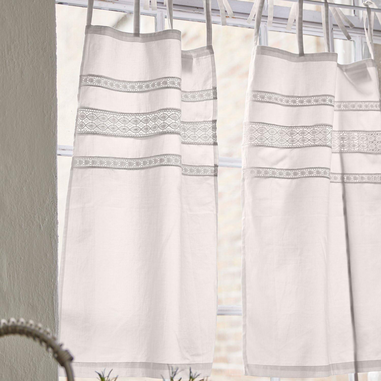 H//L env Loberon Lot de 2 Rideaux Aibre 70//45 cm Blanc Coton