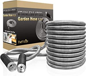 TheFitLife Flexible Metal Garden Hose - 2020 Newest Leak and Break Resistant Design, Stainless Steel Water Hose with Upgrade Solid Metal Fittings, Lightweight Kink Free Durable Easy Storage (100 FT)