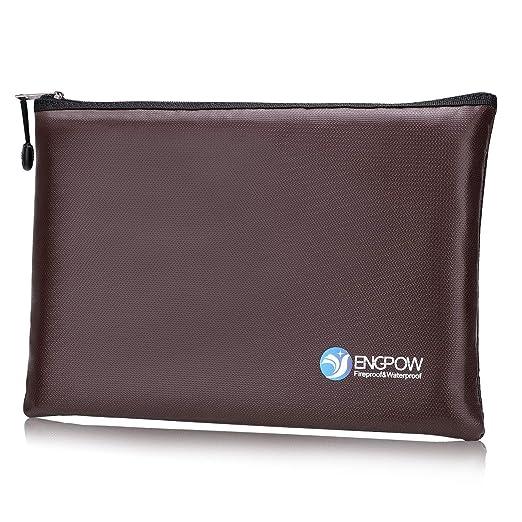 Fireproof Money Bag A4 Size Zipper Fire Water Resistant Safe Business Document Organizer Portable Filing Pouch Money Bag Cash Passport Jewelry ...