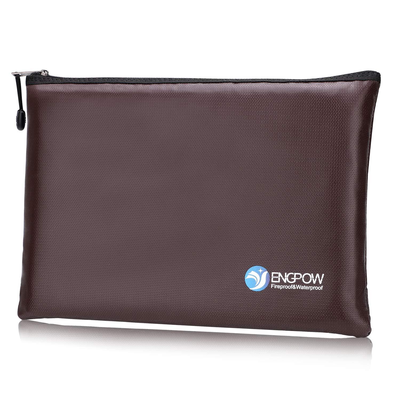 Fireproof File Bag ENGPOW A4 Size Zipper Fire Water Resistant Safe Business Document Organizer Portable Filing Pouch Money Bag Cash Passport Jewelry Dark Brown 13.5''×9.8''×1.4'' 100143