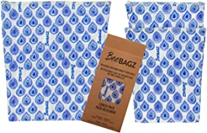 Beeswax Wrap Storage Bag by BeeBAGZ, Reusable Food Storage Bags, Pack of 3, Plastic Free Biodegradable Food Wrap Alternative, Lunch Pack, 2 Small + 1 Medium, (Blue)