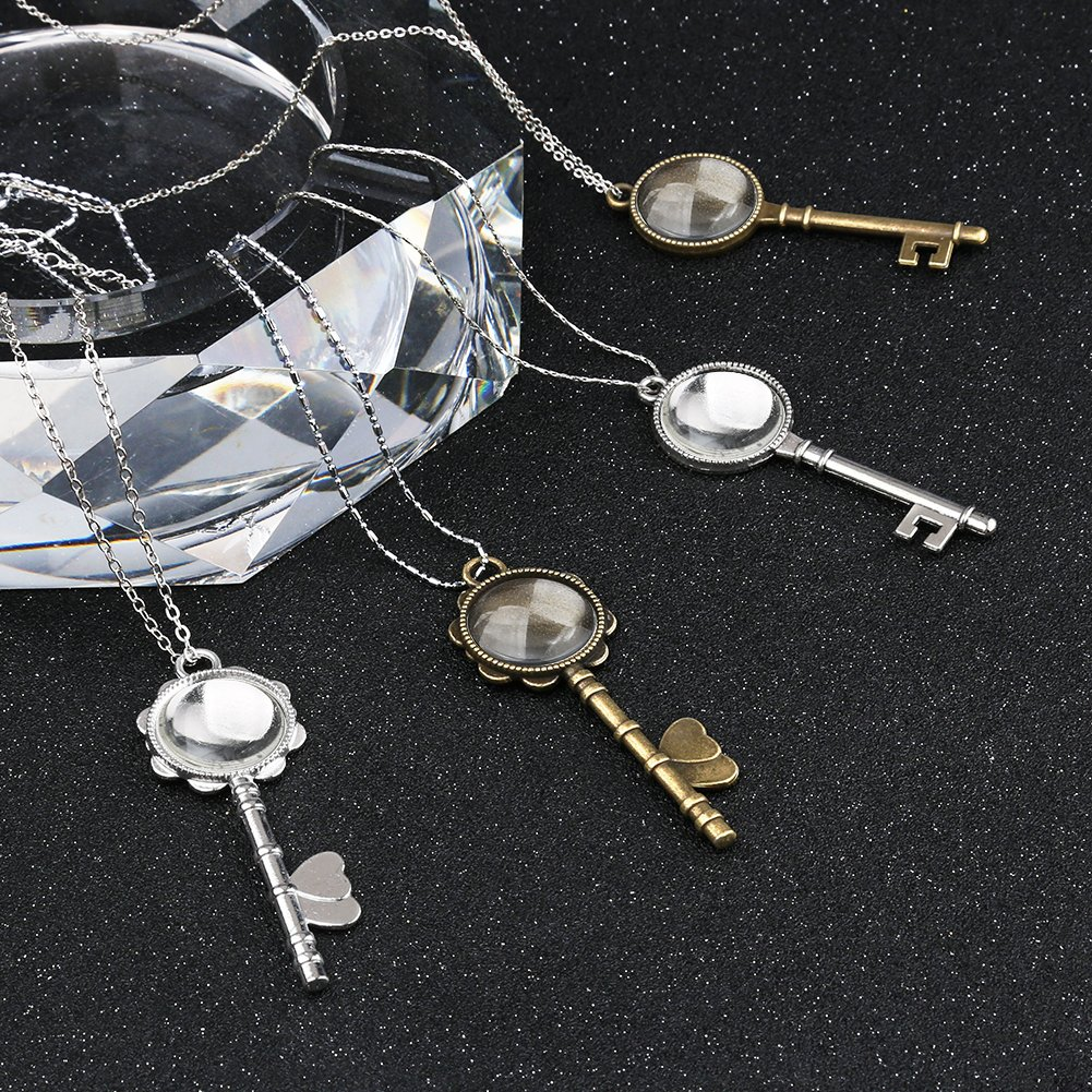 Totally 40 Pieces /… Pendant Bezel Blank for Crafting DIY Jewelry Making Accmor 20 Pcs Vintage Skeleton Keys Pendant Trays with 20 Pieces Glass Dome Tiles Cabochon