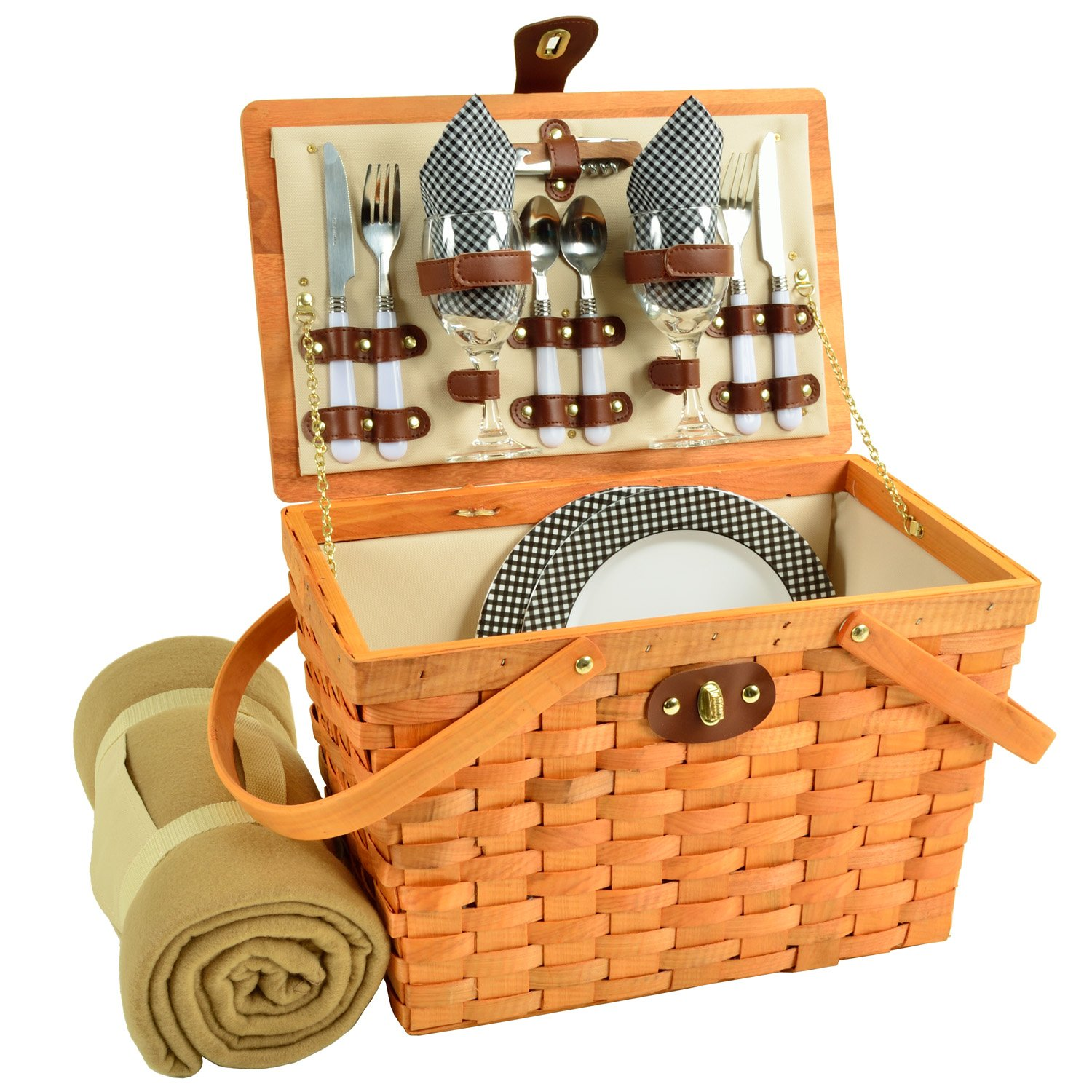 Picnic at Ascot Frisco Traditional American Style Picnic Basket With Blanket, Black Gingham