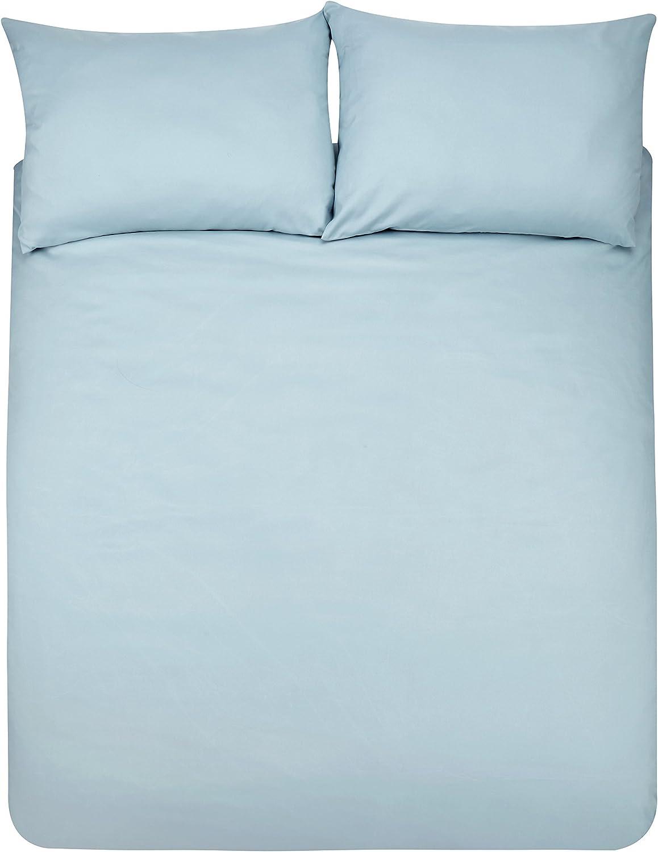 AmazonBasics - Juego de fundas de edredón y de almohada de microfibra, 230 x 220 cm + 2 fundas 50 x 80 cm - Azul claro