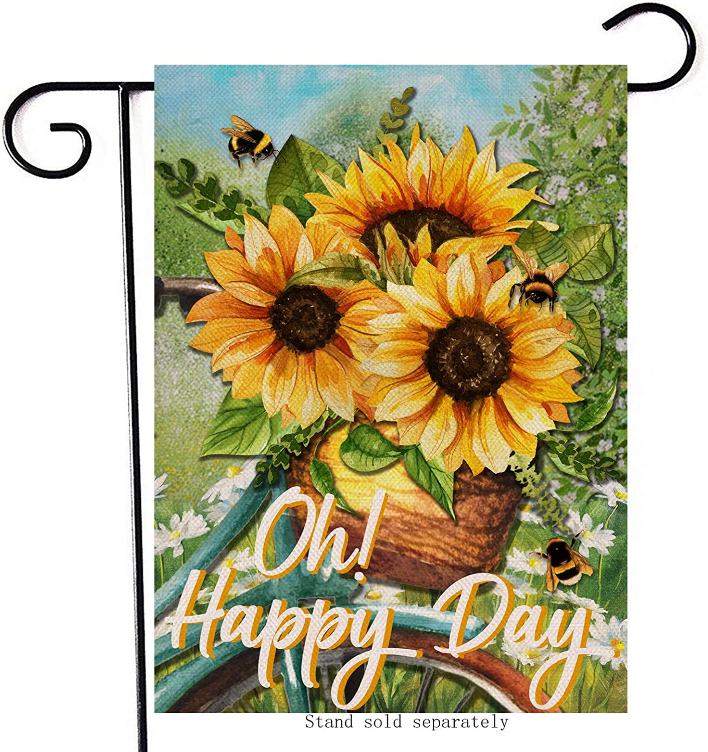 Hzppyz Sunflower Spring Garden Flag, Oh Happy Day Home Decorative House Yard Outdoor Bee Flower Bike Decoration Sign, Summer Outside Bicycle Lawn Decor Farmhouse Small Burlap Flag Double Sided 12 x 18
