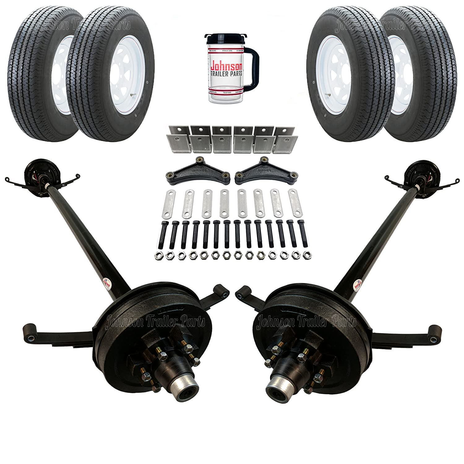 Rockwell American Tandem 5, 200 lb Electric Brake Trailer Axle Kit - Includes Trailer Tires & Wheels (85' Hubface - 70' Spring Center) 200 lb Electric Brake Trailer Axle Kit - Includes Trailer Tires & Wheels (85 Hubface - 70 Spring Center)