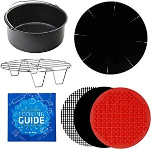 Air Fryer Pan and Rack Accessories Compatible with Ninja, Power XL, Gourmia, Gowise, Chefman, Farberware +More – Cooking and Baking Accessories for Airfryer