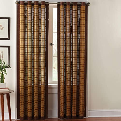 BrylaneHome Bamboo Grommet Panel – 42I W 63I L, Honey Oak Brown
