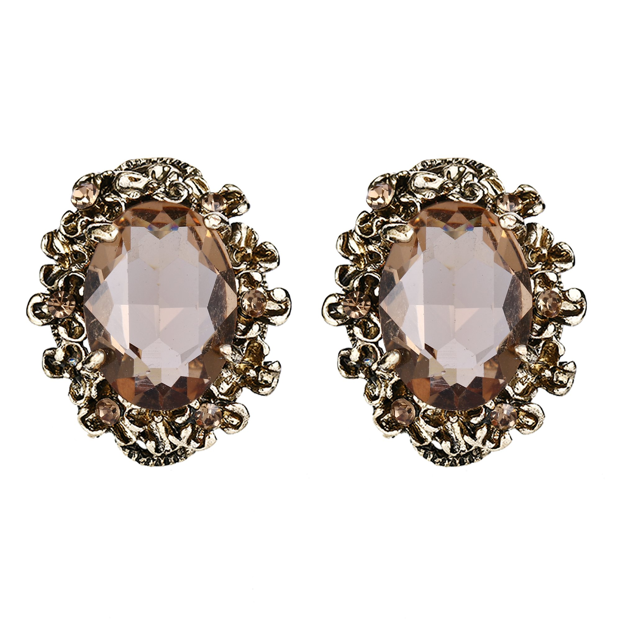 BriLove Antique-Gold-Toned Stud Earrings Women's Victorian Style Crystal Floral Scroll Cameo Inspired Oval Earrings Champagne