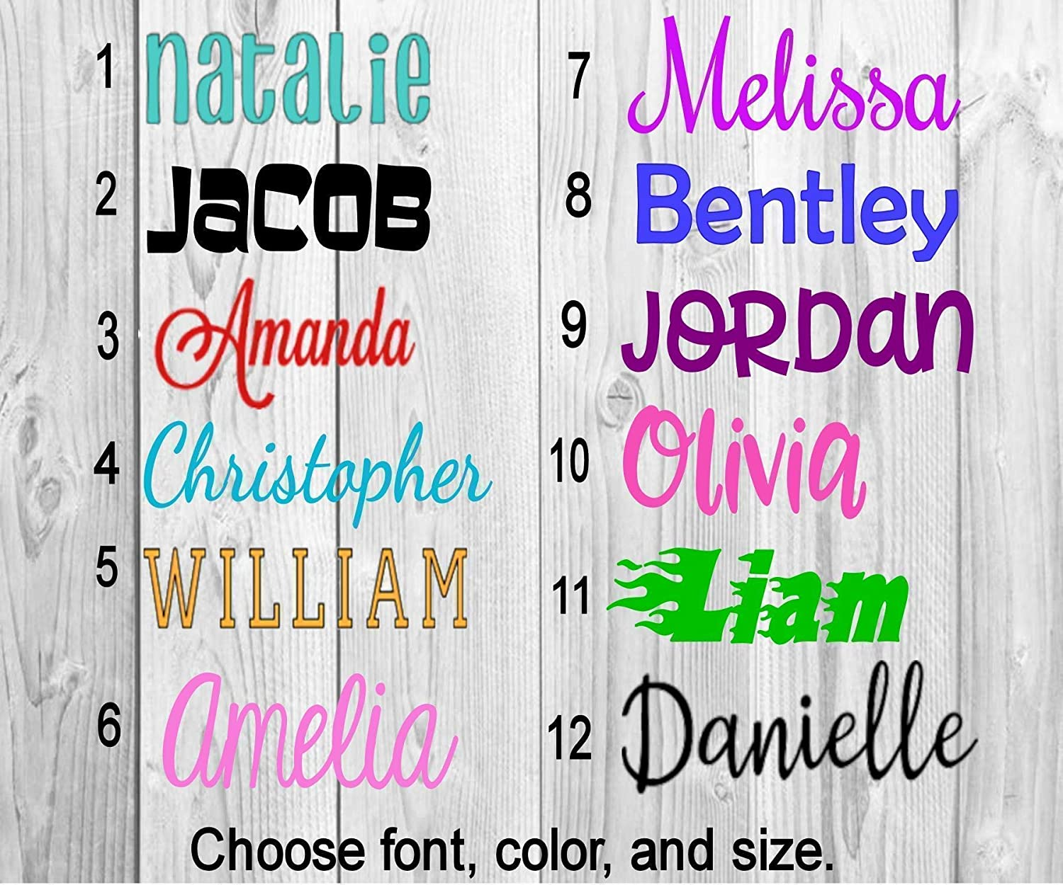 Name or word decal personalized solid and glitter color choices vinyl lettering for cup tumbler car window laptop