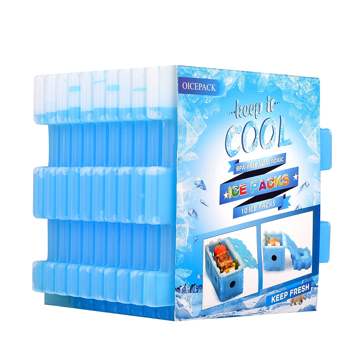 OICEPACK Ice Packs (Set of 10) Cool Pack for Lunch Box Freezer Packs for Lunch Bags and Coolers Ice Pack Slim Reusable Long Lasting Freezer Ice Packs Ice Packs Great for Coolers Blue