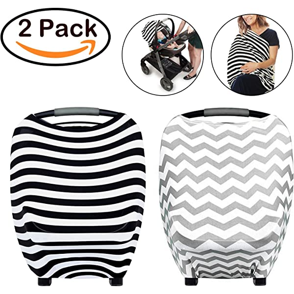 Nursing Breastfeeding Cover Shopping 2 Pack Stretchy Multi Use Car Seat Canopy