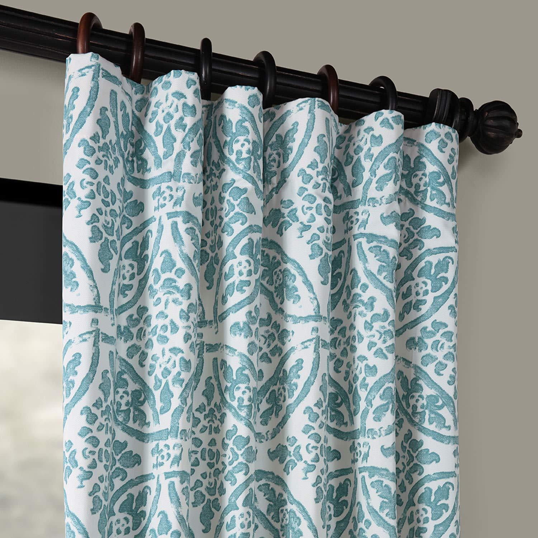 PRTW-D45B-96 Catalina Printed Cotton Twill Curtain,Aqua,50 X 96