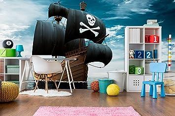 Fotomural Vinilo Pared Barco pirata realista | Fotomural para paredes | Mural | Vinilo Decorativo | Varias Medidas 100 x 70 cm | Decoración comedores, ...