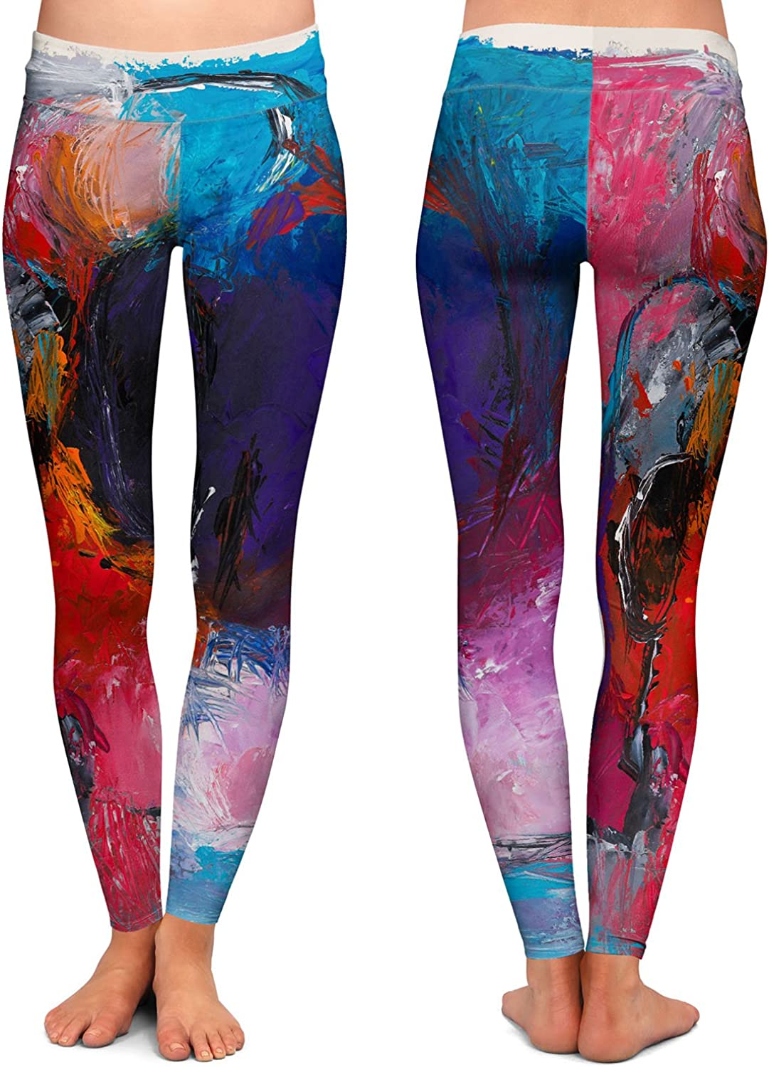 Sunset Abstraction Athletic Yoga Leggings from DiaNoche Designs by Hooshang Khorasani