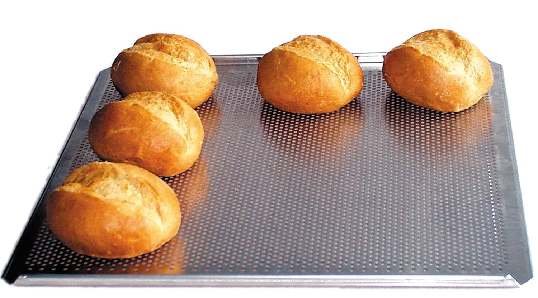 Brot- und Brötchen-Backblech, ►optimale Hitzeverteilung, ►Standard-Größe, ►Aluminium, perforiert, 34 x 38 cm ►Aluminium Hobbybäcker.de