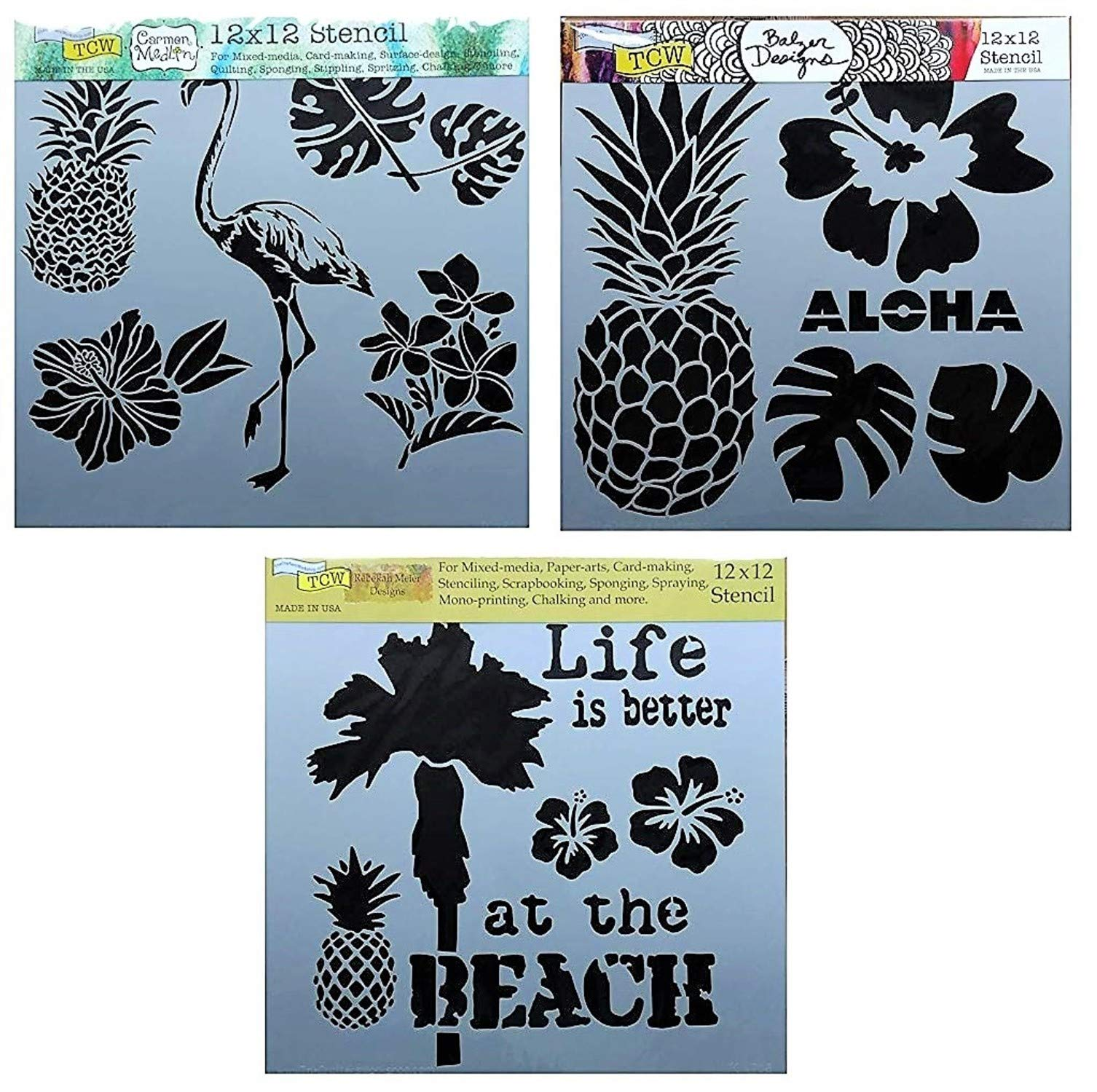 3 Tropical Style Flamingo, Pineapple, Palm Tree and Leaf Themed Stencils | Large Mixed Media Stencil Set for Arts, Card Making, Journaling, Scrapbooking | 12 x 12 Inch Templates | By Crafters Workshop