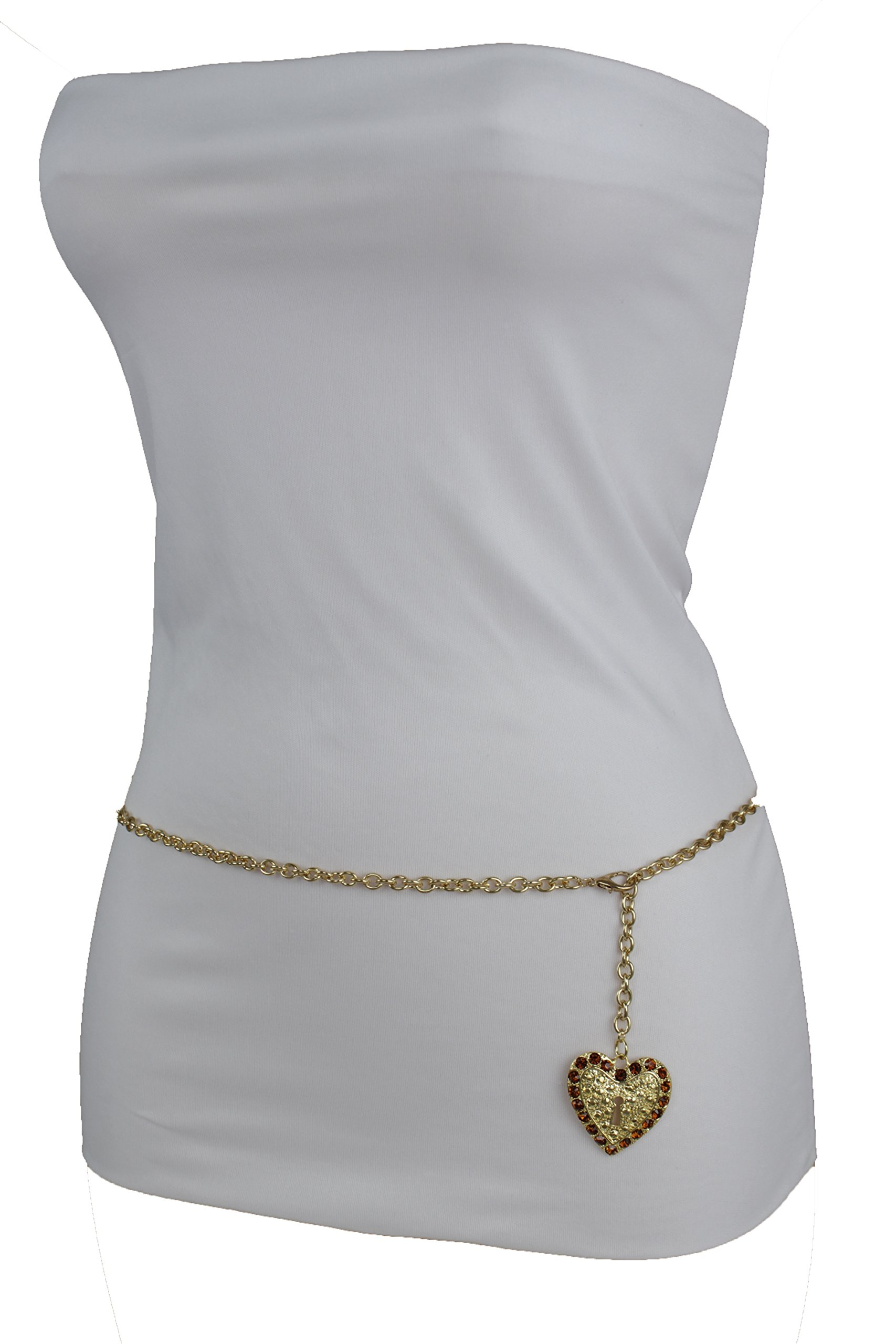TFJ Women Fashion Narrow Belt Hip High Waist Gold Metal Chains Lock Love Key Heart Buckle (Medium-XL 30''-45'' waist)
