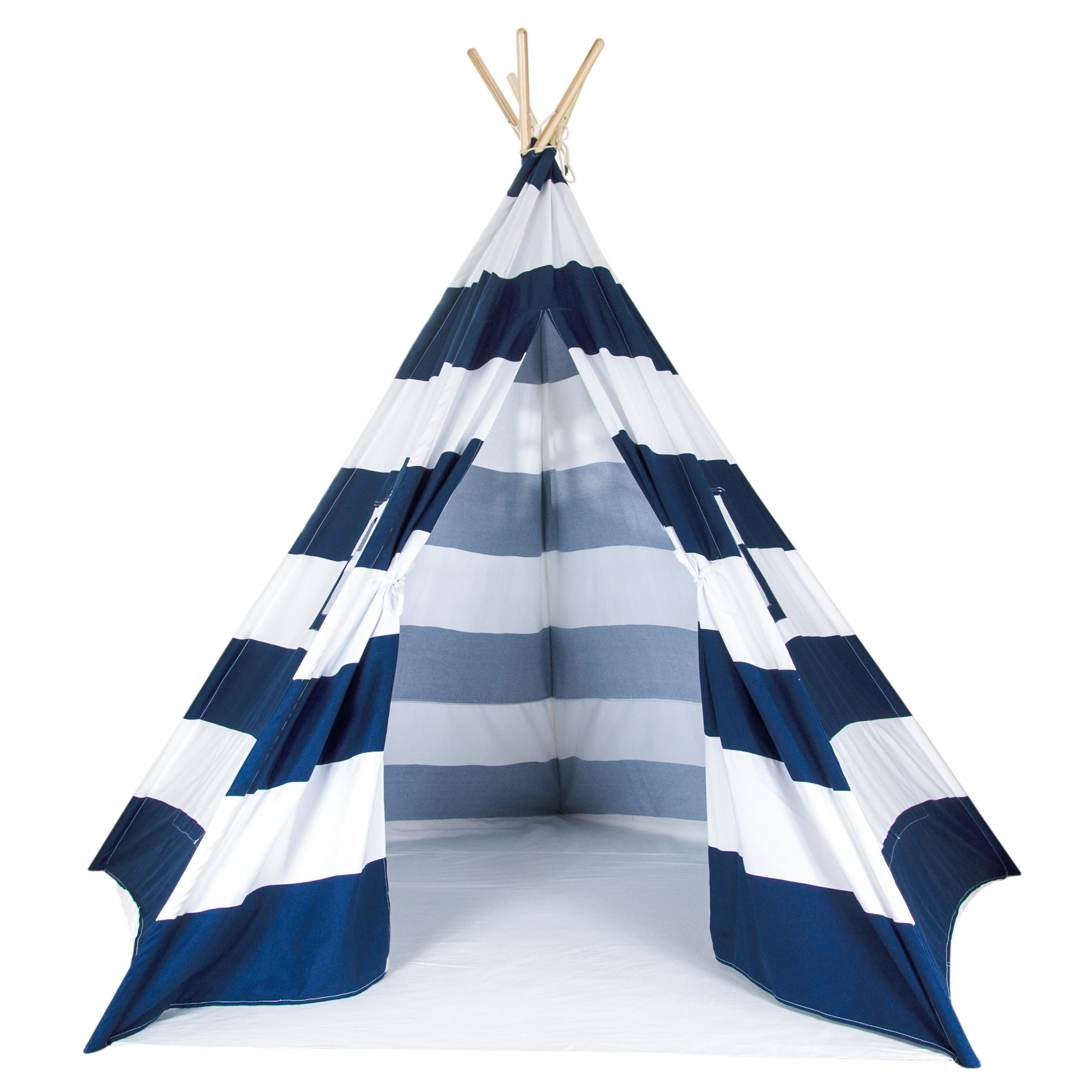 A Mustard Seed Toys Large Kids Teepee Tent, Big Enough for The Whole Family, 100% Natural Cotton Canvas Tent with Carrying Case, No Extra Chemicals (Navy)