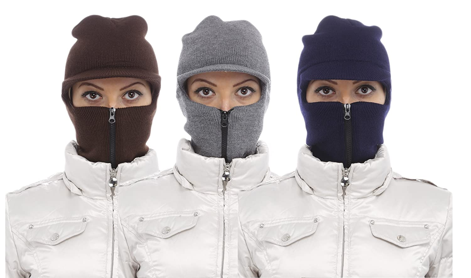 Amazon.com: Ski and Snowboard Face Mask with Visor - Wind and Cold Protection for Winter Outdoors (3 Ski Masks Color Whit Front Zipper): Clothing