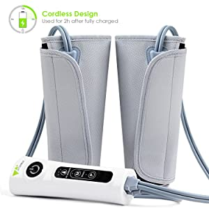 Amzdeal Leg Massager Air Compression Leg Wraps for Calf Arms Foot Circulation Built-in Rechargeable Battery Cordless Design