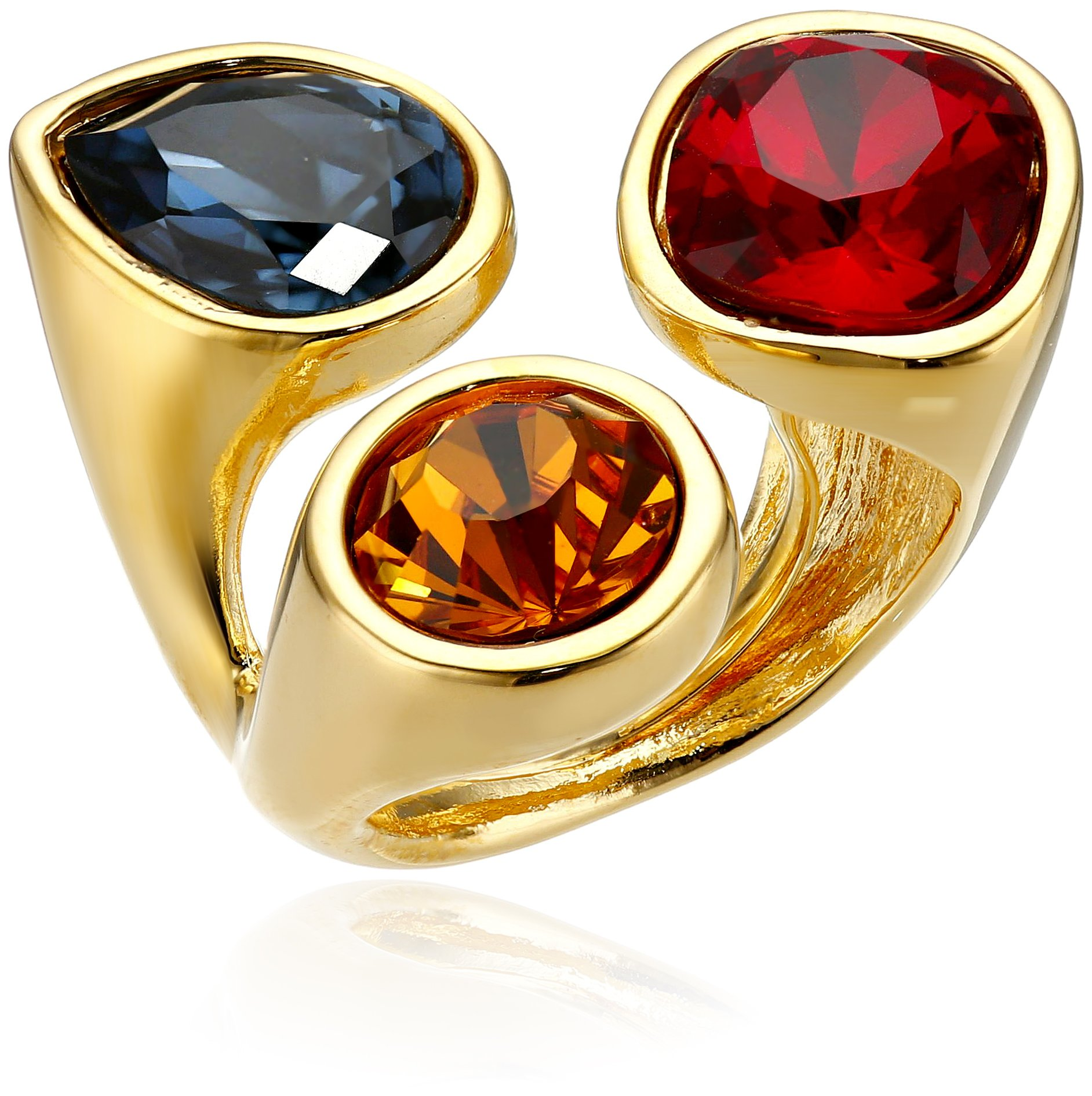 Kenneth Jay Lane Gold-Plated and Multi-Dark Gem Cluster Adjustable Ring, Size 5-7