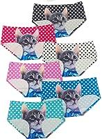 ToBeInStyle Women's Pack of 6 Cat Print Laser Cut Panties