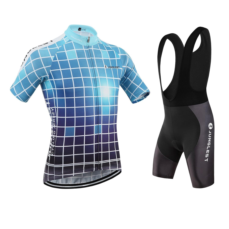 Cycling Jersey Set Wen半袖(S ~ 5 X L、オプション:よだれかけ、3dパッド) n96 B01BSZ9UWY  種類: セット(ブラック前掛け) (General pad)(Chest 50-53inchs)