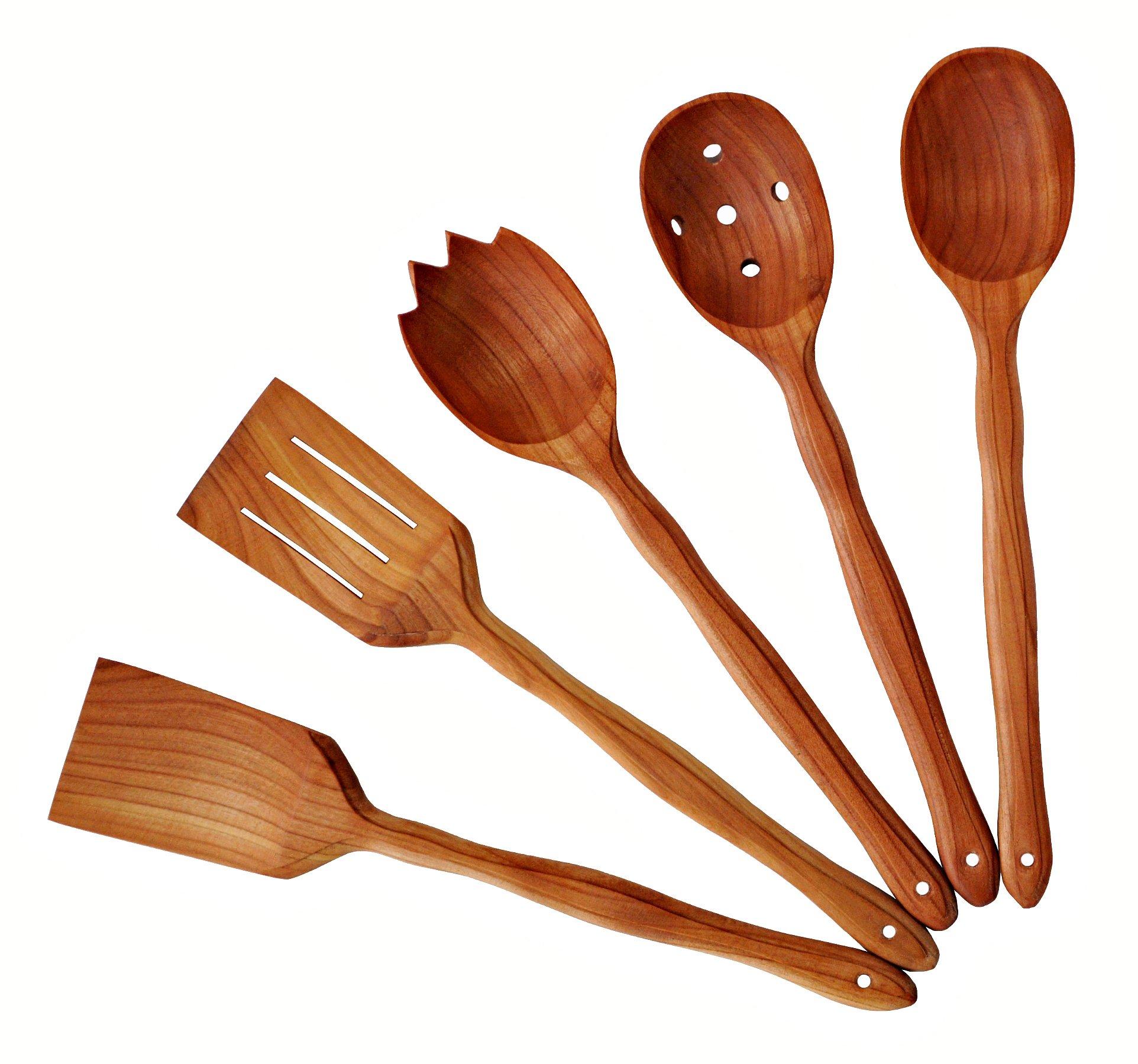 Handmade Utensil Set. Wooden Cute Kitchen Utensils Set 14''/35 cm. Cherry Wood Kitchen Supplies & Utensils Big Set of 5