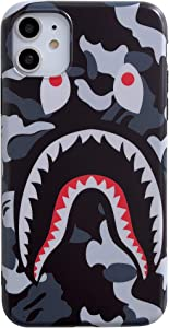iPhone 11 Street Fashion Shark Face Soft Case,IMD Tech Sleek Texture Anti-Scratch Ultra-Thin Shockproof Case for iPhone 11 6.1inch (Camo Gray)